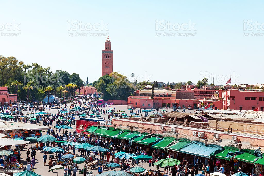 At noon Djemaa El Fna Square, Marrakech, Morocco stock photo