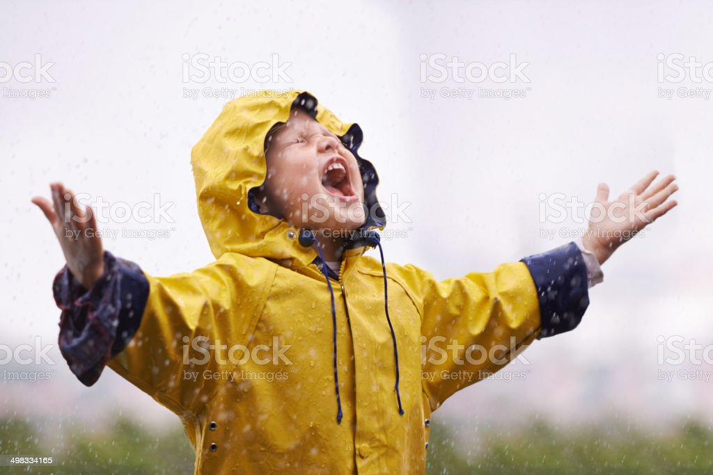 At one with the rain stock photo