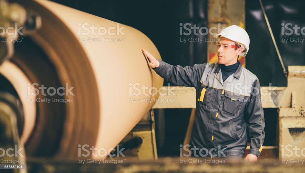at paper making factory stock photo