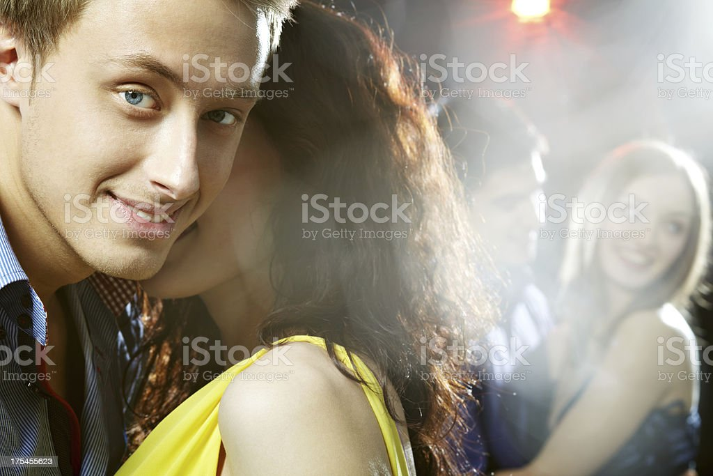 At party with girl stock photo