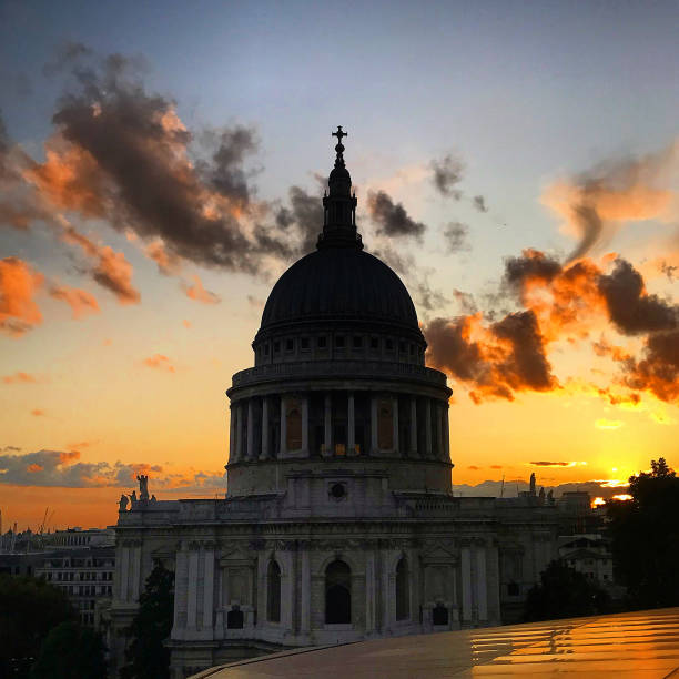 At Paul's Cathedral at dusk. stock photo