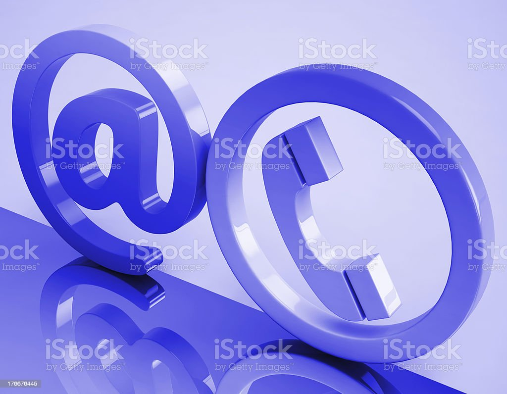 At Phone Sign Means E-mail And Telephone royalty-free stock photo