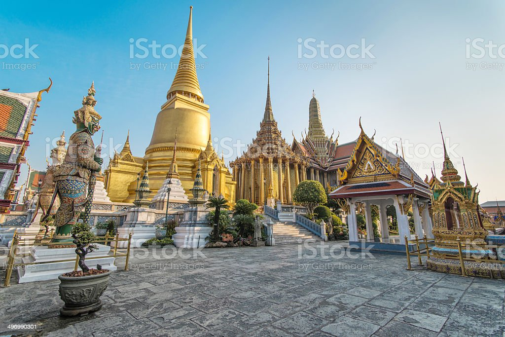 at Phra Kaeo, Temple of the Emerald Buddha,Bangkok Thailand. stock photo