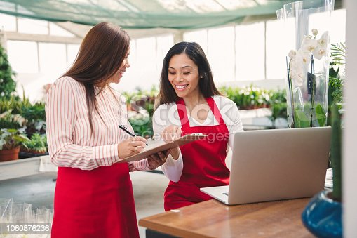 Women working at garden store