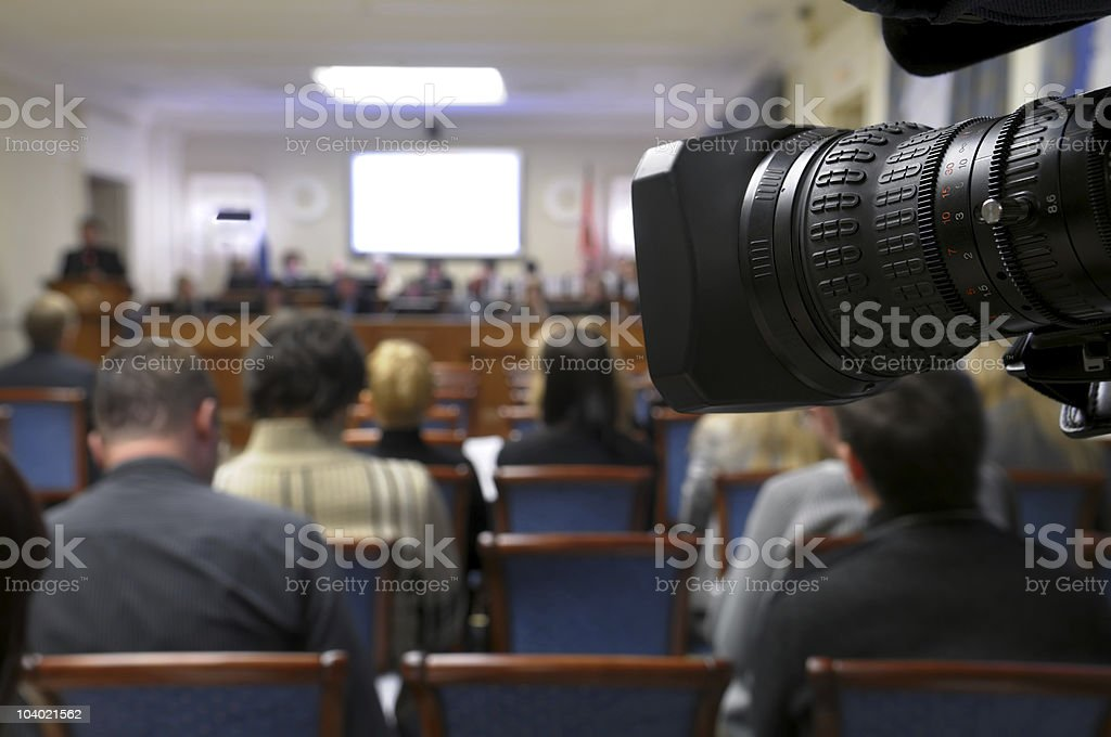 TV at press conference. royalty-free stock photo