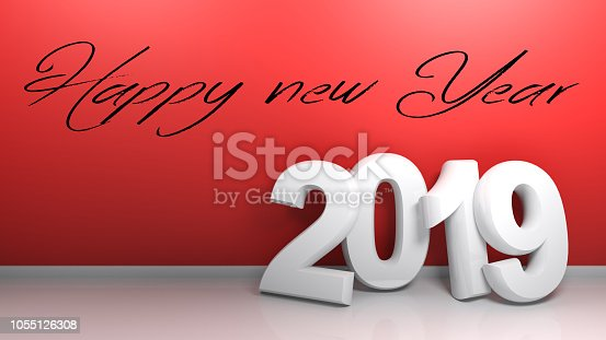 istock 2019 at red wall Happy new Year - 3D rendering 1055126308