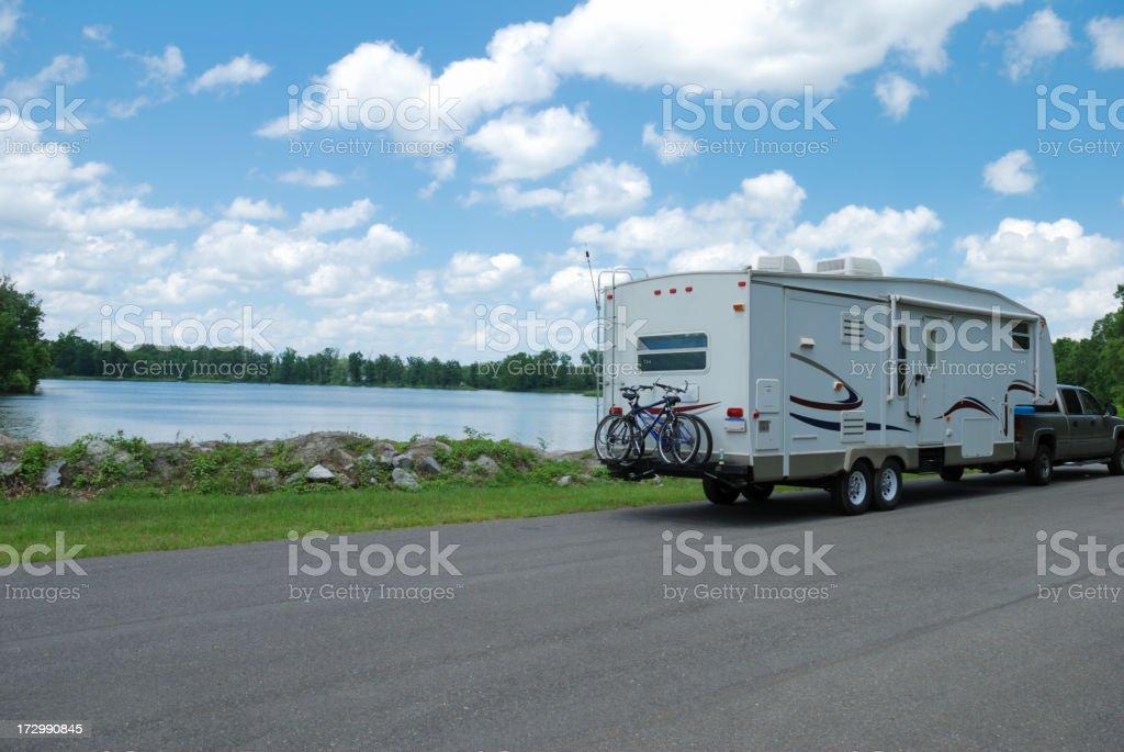 RV at River royalty-free stock photo