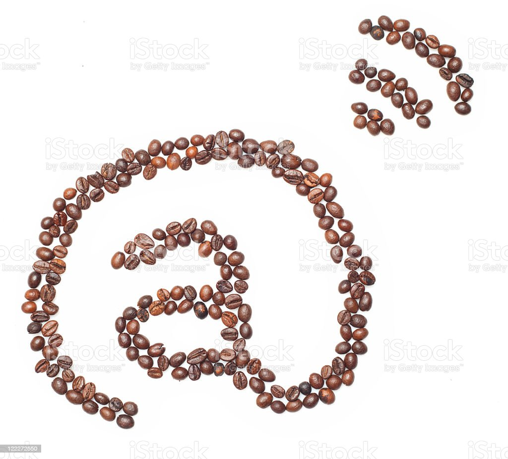 'At' sign with coffee beans royalty-free stock photo