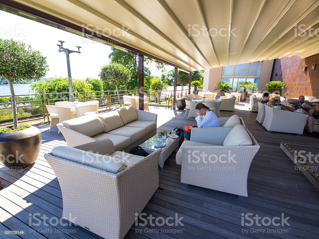 At terrace in Hotel stock photo