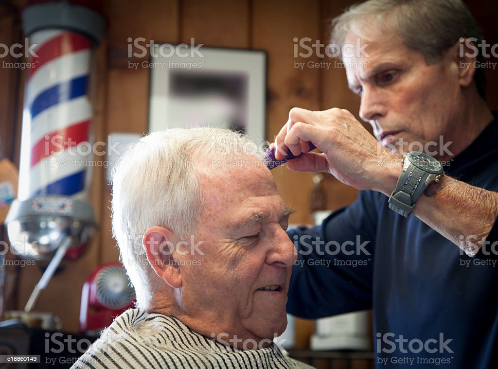 At the barber stock photo