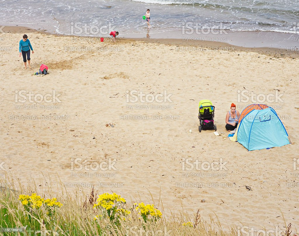 At the beach, English people and way royalty-free stock photo