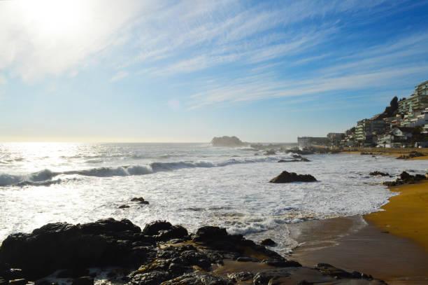 At the beach in Vina del Mar, Chile stock photo