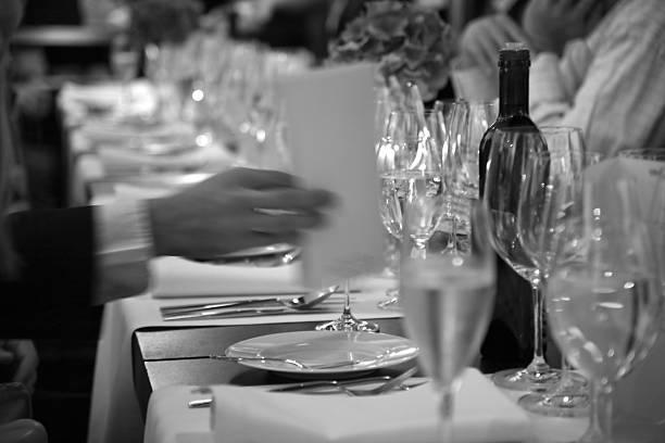 no início oficial do jantar no restaurante - eventos de gala - fotografias e filmes do acervo