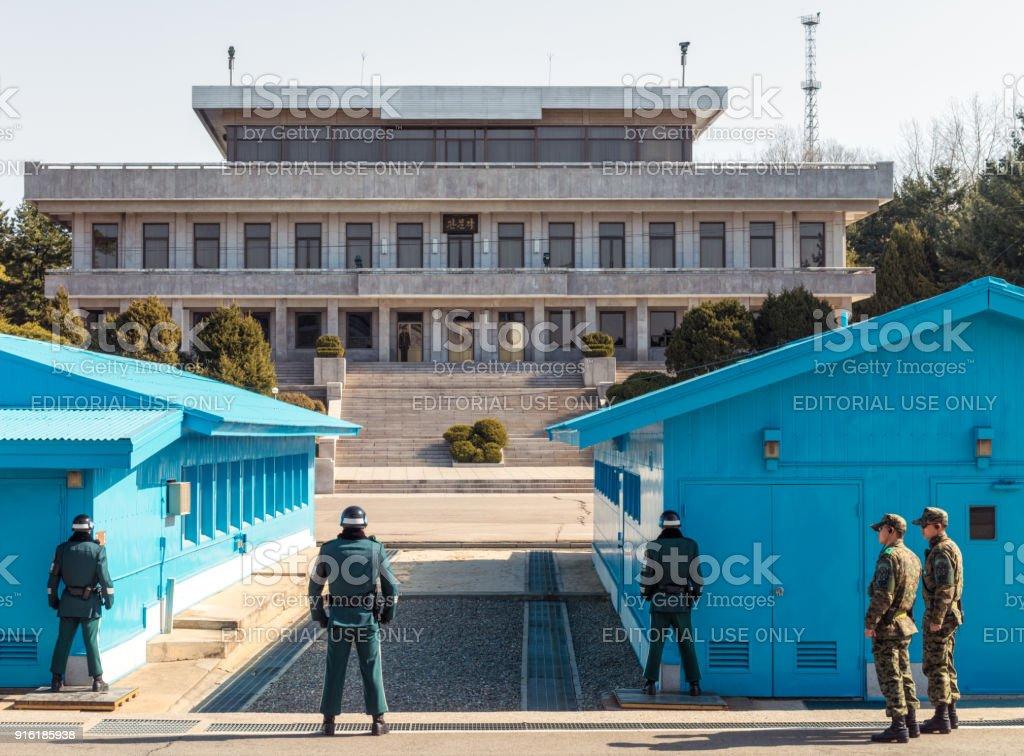 DMZ at the border between North and South Korea stock photo