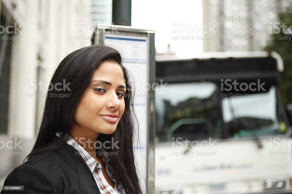 At the Bus Stop royalty-free stock photo