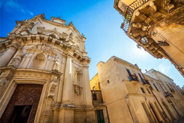 At the Church of San Matteo on Via dei Perroni Lecce Puglia Italy stock photo
