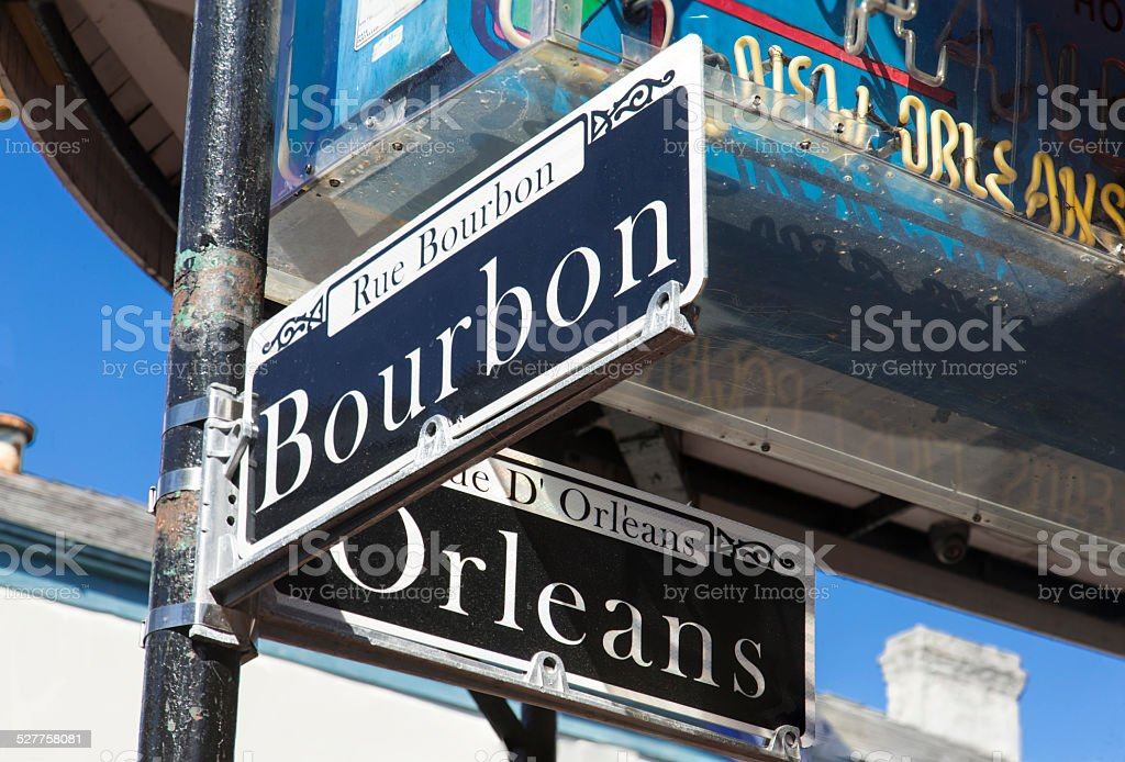 At the Corner of Bourbon and Orleans stock photo