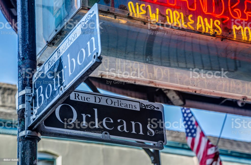 At the Corner of Bourbon and Orleans streets stock photo