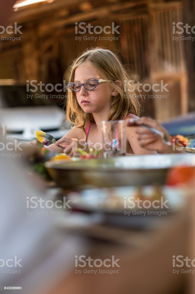 At the Countryside outdoor Breakfast stock photo