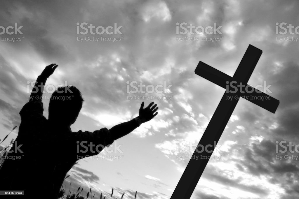 At the cross royalty-free stock photo