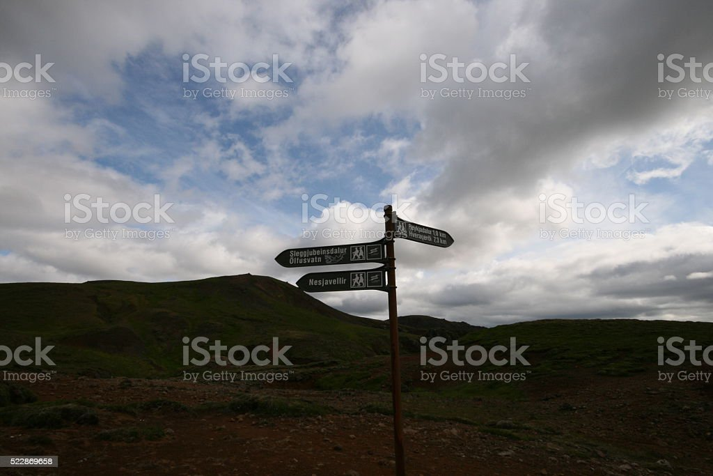 At the crossroads of trails amid hot springs. Iceland. stock photo