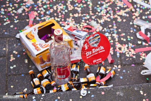 Köln (Cologne), Germany - March 4, 2014: bottles and rubbish left behind on the street after carnival parade
