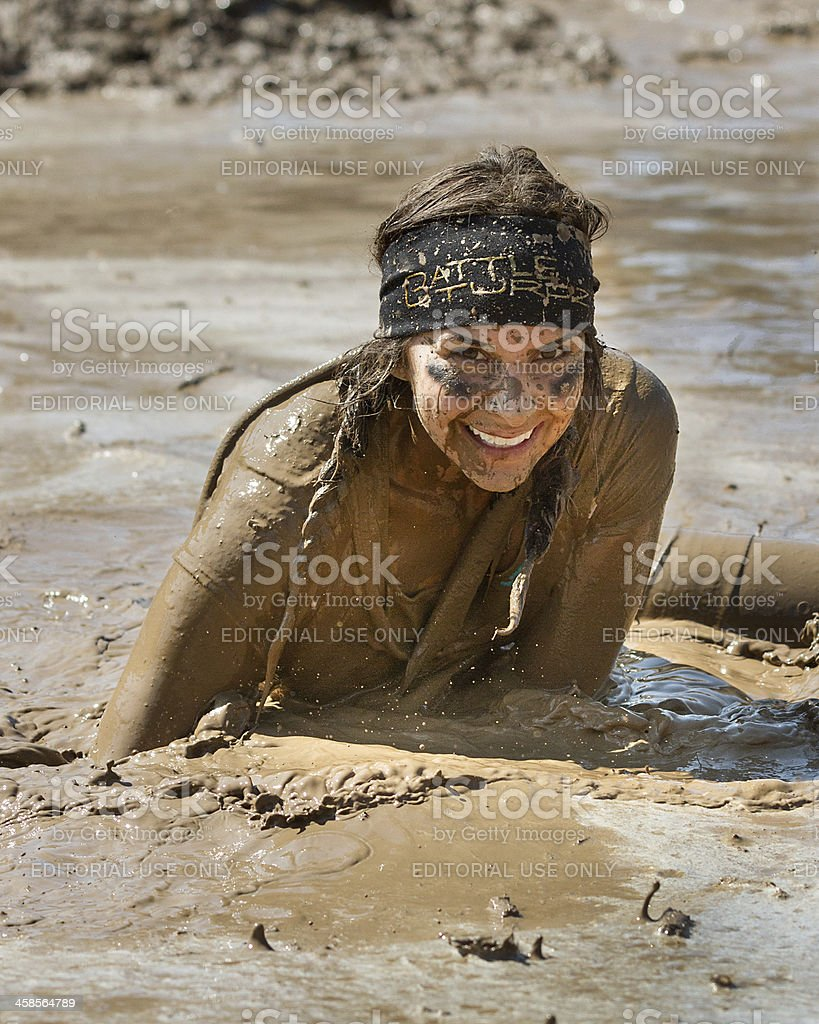 At the Dirty Dash She was covered in mud royalty-free stock photo