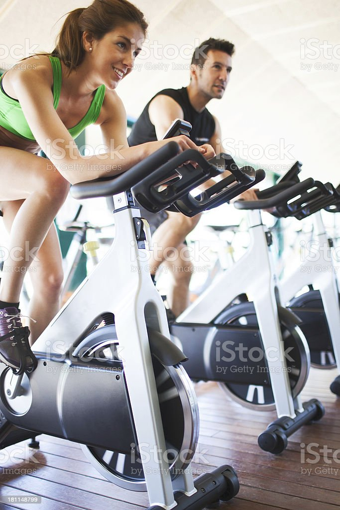 At the spinning class. stock photo