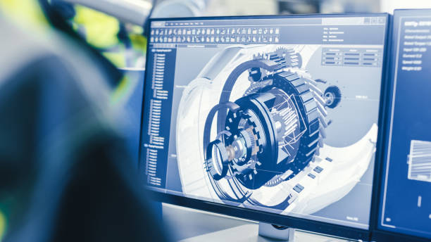 en la fábrica: el ingeniero mecánico femenino diseña el motor 3d en su computadora personal mientras que el ingeniero de automatización masculino utiliza el ordenador portátil para programar el brazo robótico. - ingeniero fotografías e imágenes de stock