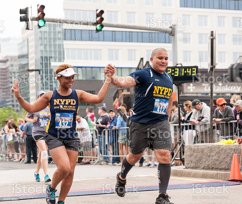 At the Finsih Line at Boston's Run to Remember stock photo