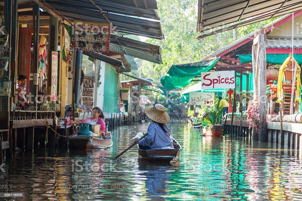 at the floating market Damonen Saduak in Thailand stock photo