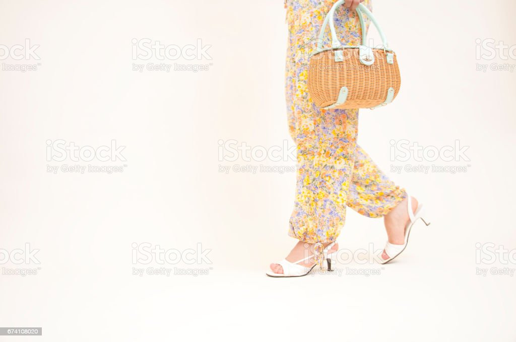 At the foot of the walk with a bag lady royalty-free stock photo