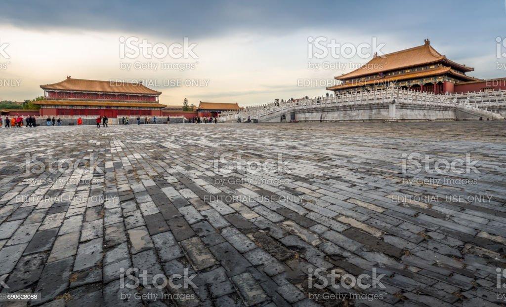 At the Forbidden City (Gu Gong, Palace Museum), Panorama, Beijing stock photo