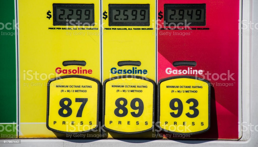 at the gas pump straight angle with high prices stock photo