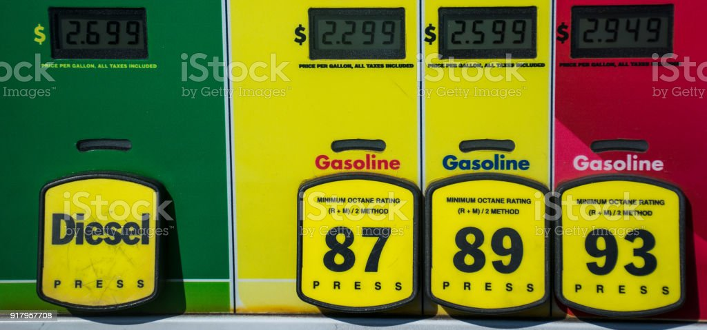 at the gas pump with gasoline and diesel options for fueling up your vehicle stock photo