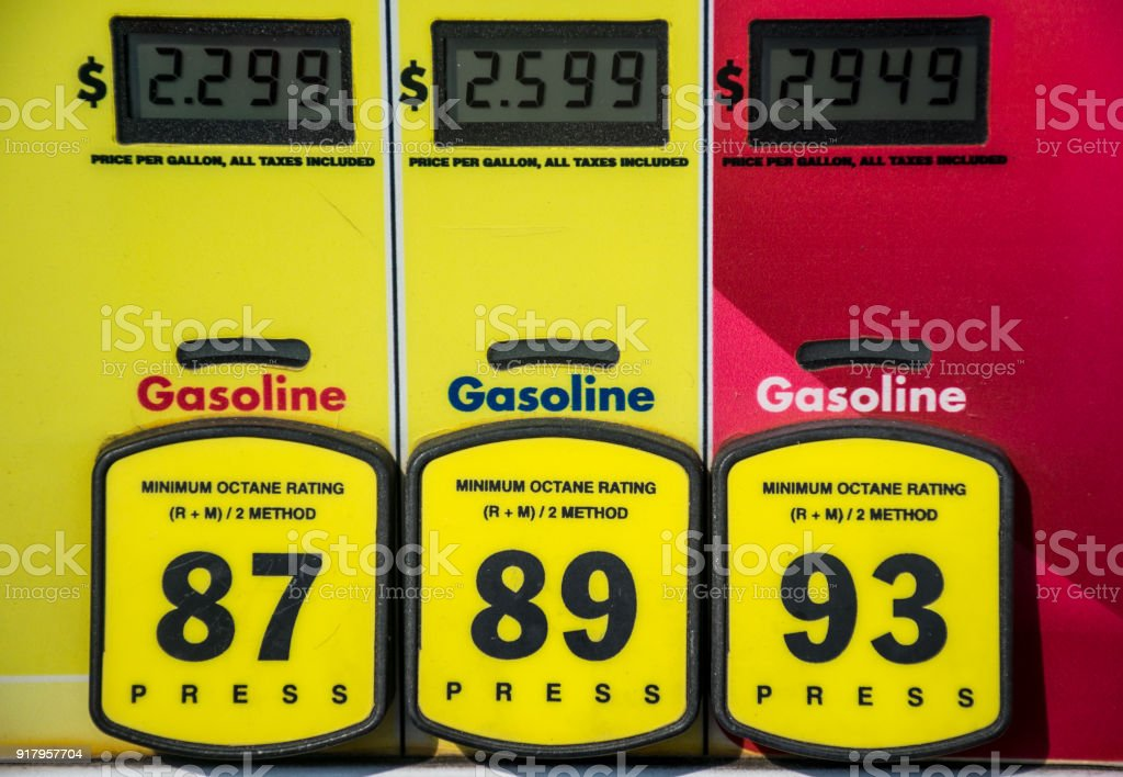 at the gas pump yellow buttons and octane ratings on fossil fuel petrol gasoline stock photo