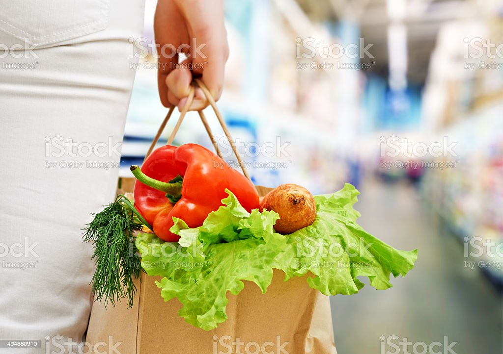 at the grocery store stock photo