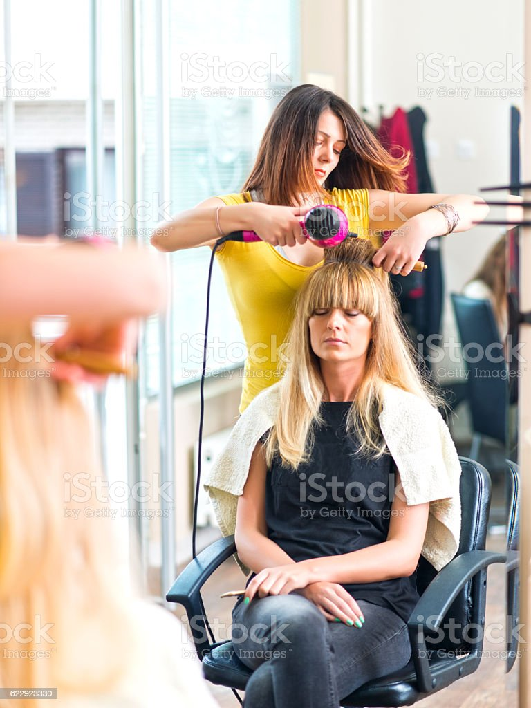 At the hairdresser's stock photo