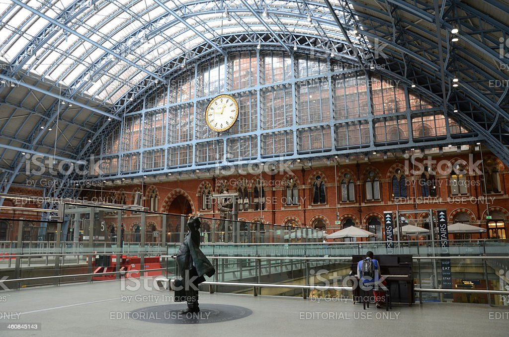 At the hall of St Pancras Railway Station stock photo