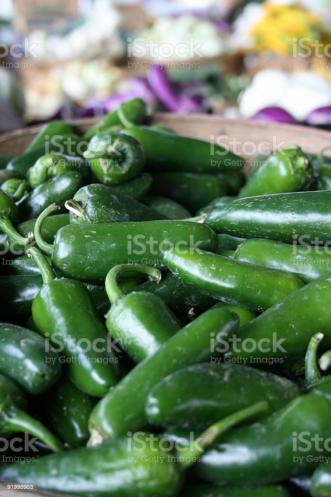 at the market: jalapeno peppers royalty-free stock photo