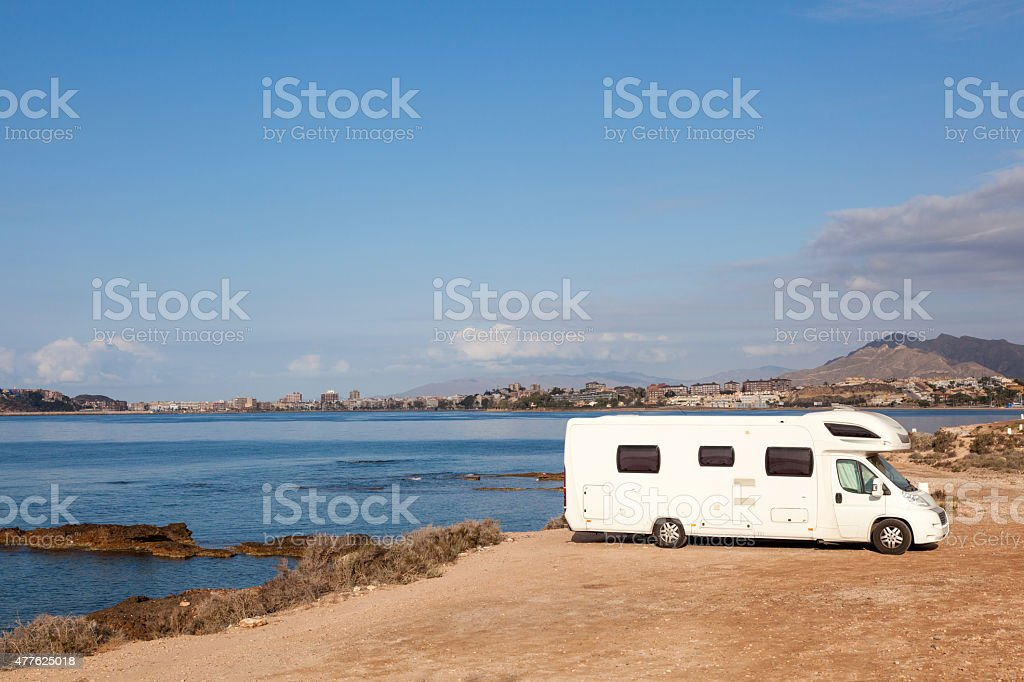 RV at the mediterranean coast stock photo