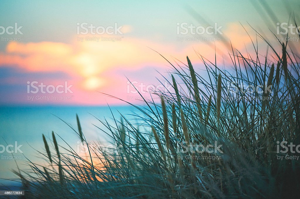 At the ocean in sunset stock photo