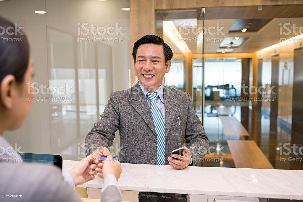 At the office reception royalty-free stock photo