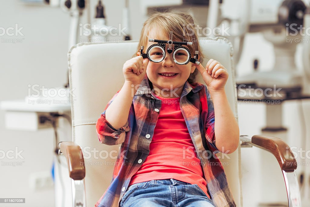 At the ophthalmologist stock photo