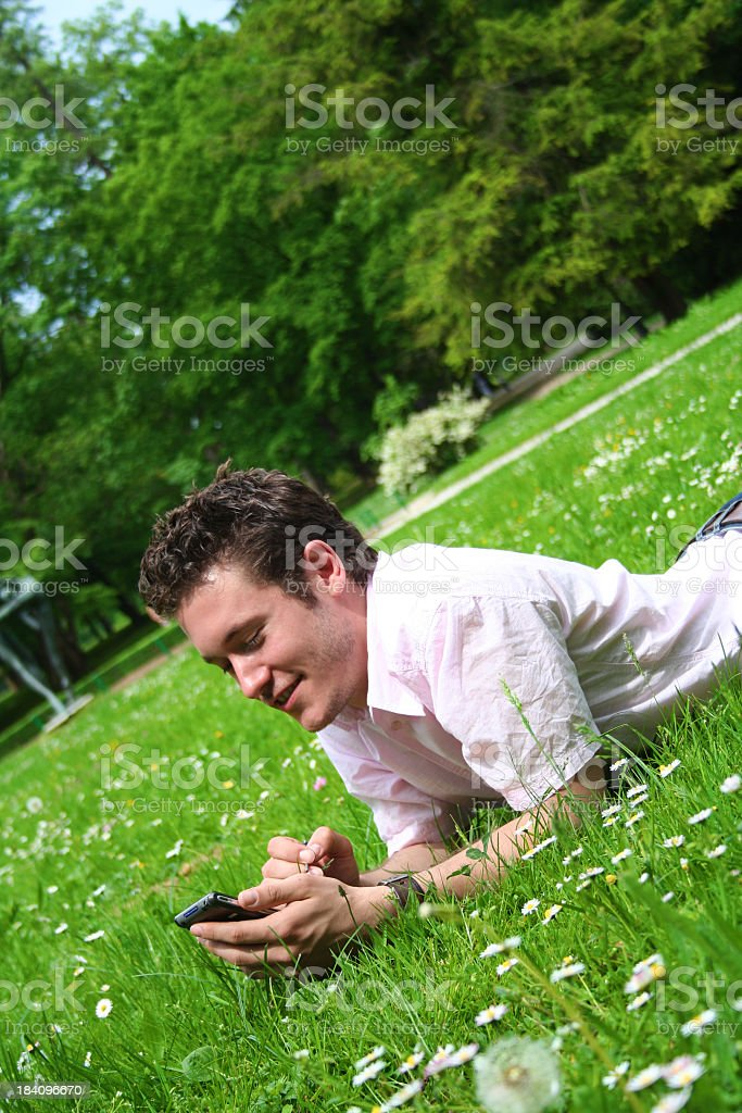 At the park, notes on PDA royalty-free stock photo
