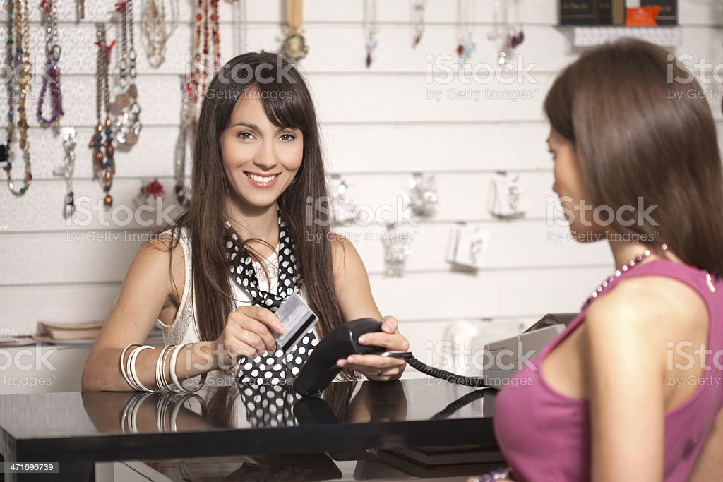 At the pay desk royalty-free stock photo