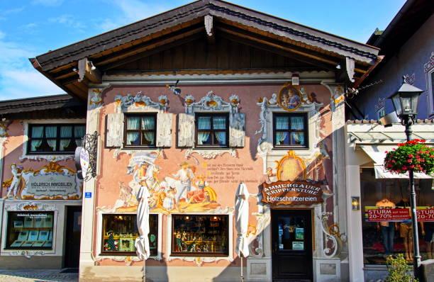 At the pedestrian zone of Oberammergau. Bavaria, Germany. stock photo