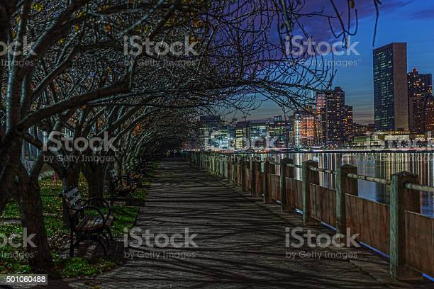 Photo of At the riverbank. View at night cityscape