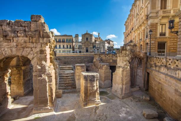 At the Roman amphitheater in Piazza Sant'Oronzo in Lecce Apulia Italy stock photo