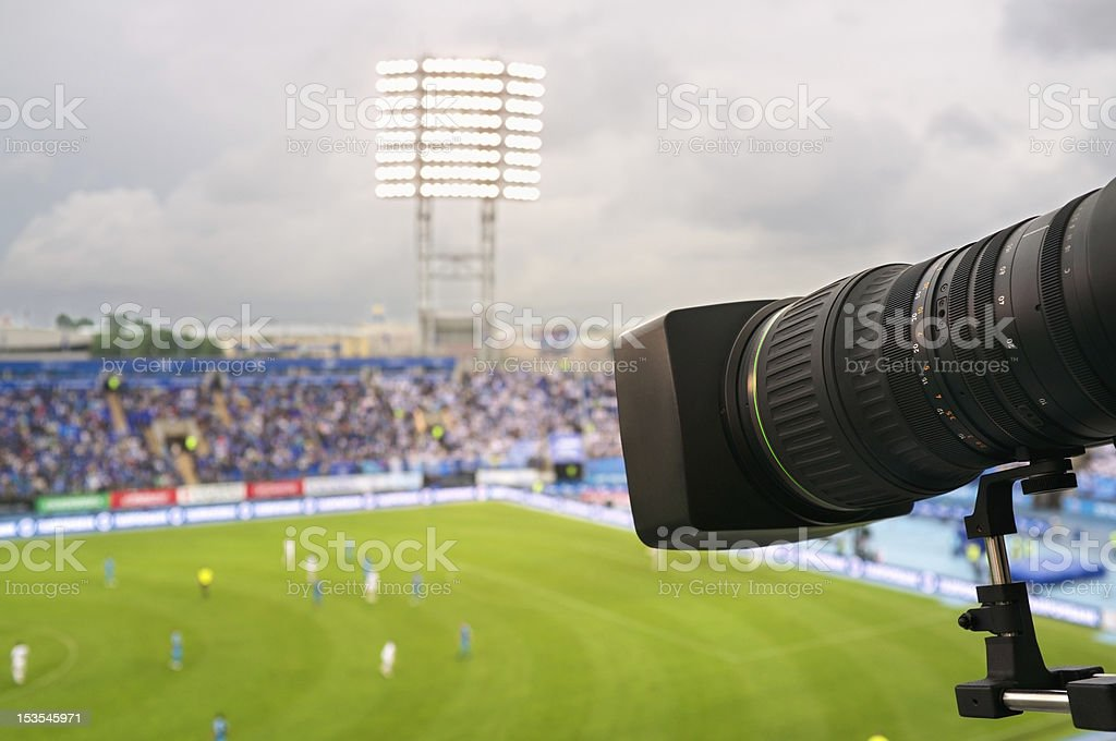 TV at the soccer. stock photo